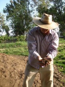 Organic producer John Teixeira holding his compost.